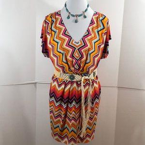 Trina Turk multi color zig zag dress